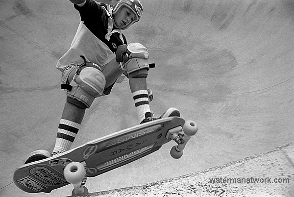 A skateboarder at Del Mar Skate Ranch 1979
