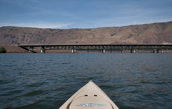 The mouth of the John Day River where it empties into the Columbia River