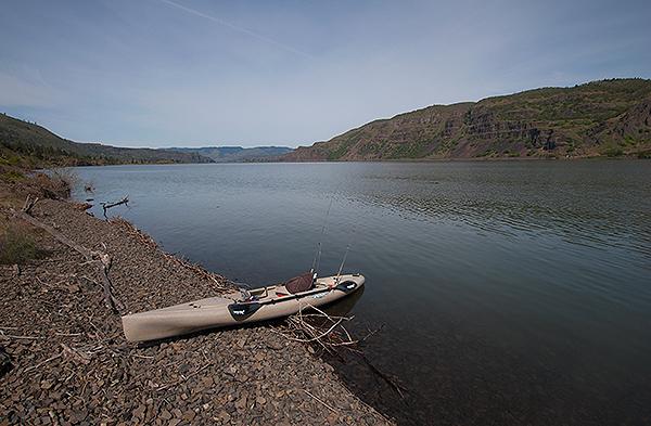 Kayak fishing on the Columbia River