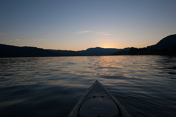 Kayak fishing sunrise on the Columbia River