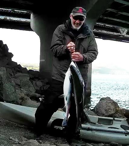 Kayak fishing for Coho salmon on the Columbia River