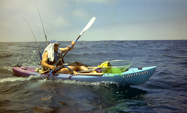 Mike Casinelli kayak fishing off Oceanside, CA 1998