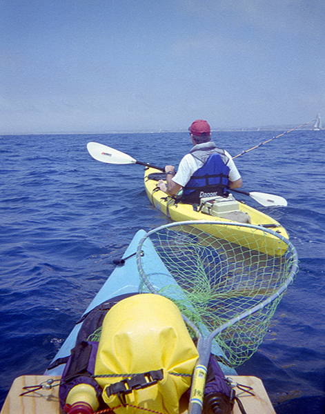 Kayak fishing off Oceanside, CA June 1998