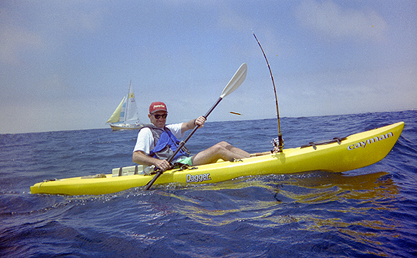 Ron Barbish kayak fishing off Oceanside, CA June 1998