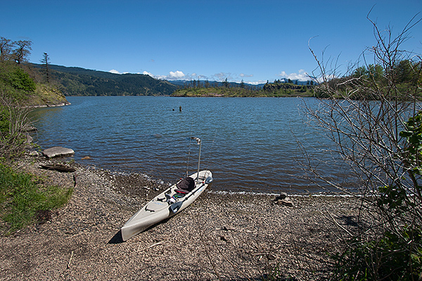 Kayak fishing on the Columbia River