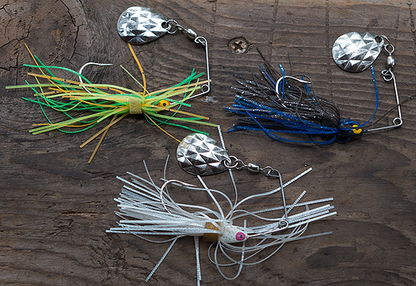 Spinnerbaits with Colorado blade for smallmouth bass