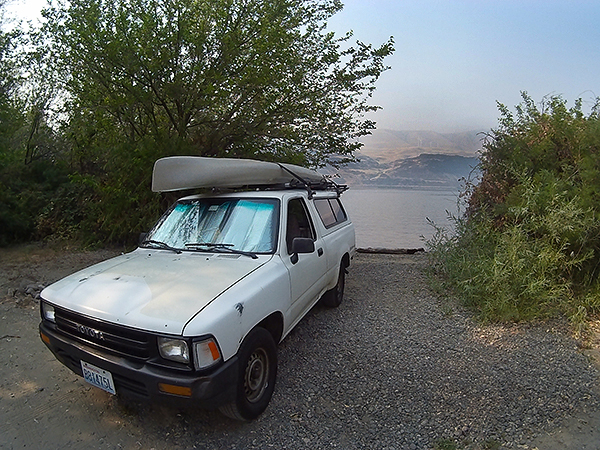 Camping for kayak fishing on the Columbia River near Rufus, OR