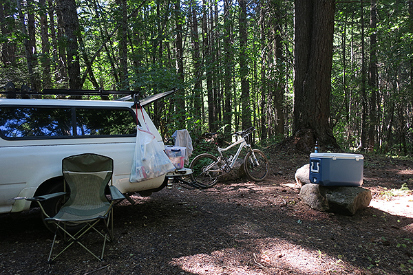 Mountain bike camp in southwest Washington