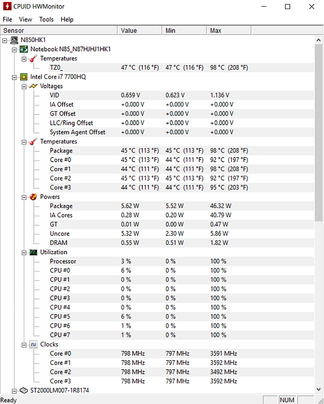 Eluktronics/Clevo N850HK1 CPU running hot at 98°C