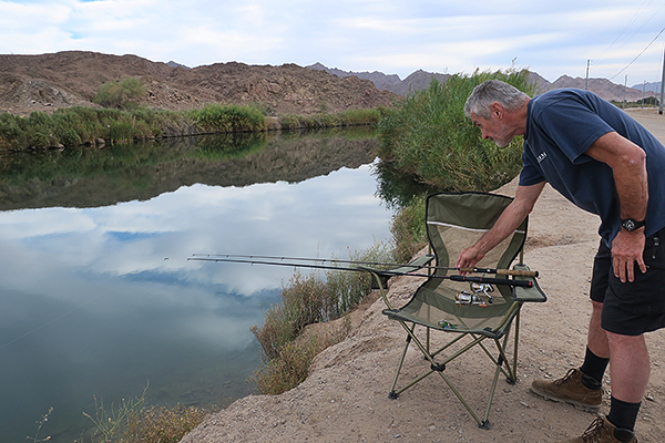 Fishing in the Gila Gravity Canal near Yuma, AZ