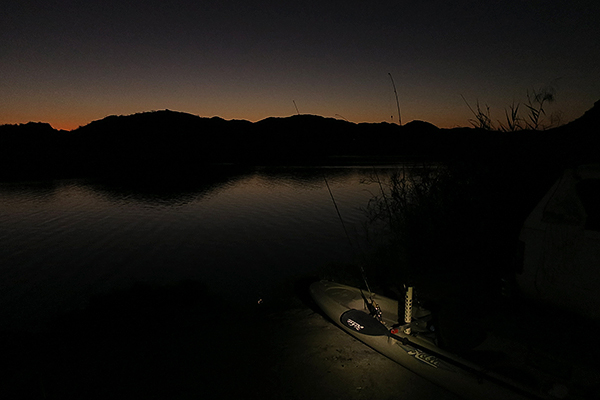 Kayak fishing dawn patrol at Mittry Lake AZ