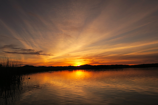Sunset over Mittry Lake in southwest Arizona