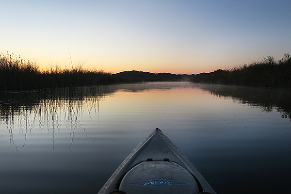 A cold morning of kayak fishing on Mittry Lake in the Arizona desert