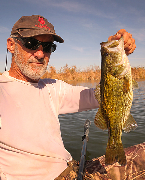 Largemouth bass caught on Mittry Lake by watermanatwork.com kayak fisherman Ron Barbish.