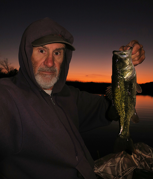 Early morning largemouth bass caught by watermanatwork.com kayak fisherman Ron Barbish.