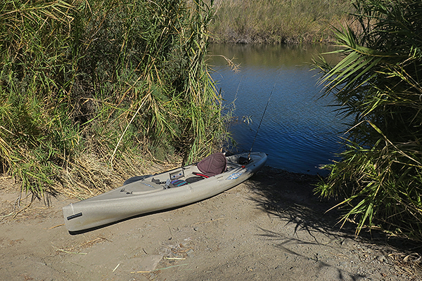Primitive boat launch ramp on the Gila River backwaters.