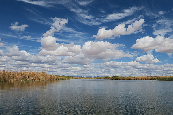 Clouds over Mittry Lake as a weather front moves through the southwest Arizona desert.