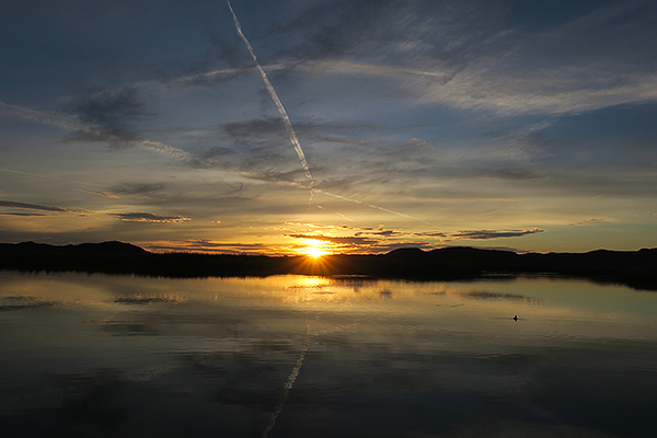 Sunset over Mittry Lake in southwest Arizona.