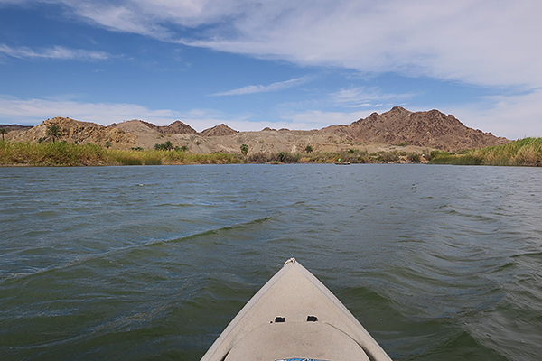 Kayak fishing for largemouth bass on a windy Colorado River