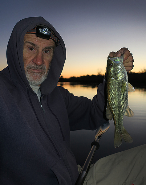 Largemouth bass caught on the Colorado River just before dawn by watermanatwork.com kayak fisherman Ron Barbish
