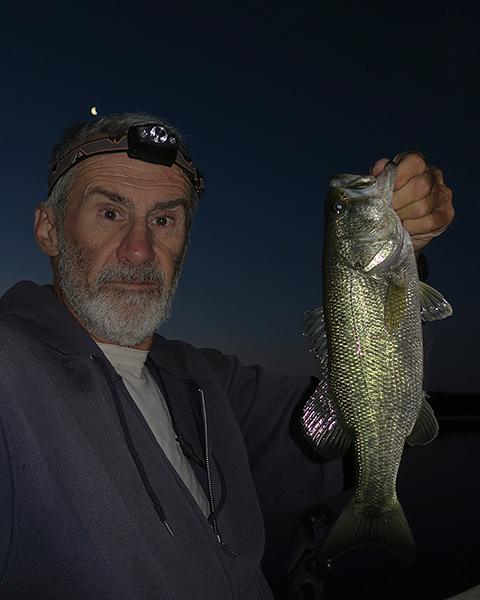 Largemouth bass caught before sunrise on the Colorado River by watermanatwork.com kayak fisherman Ron Barbish