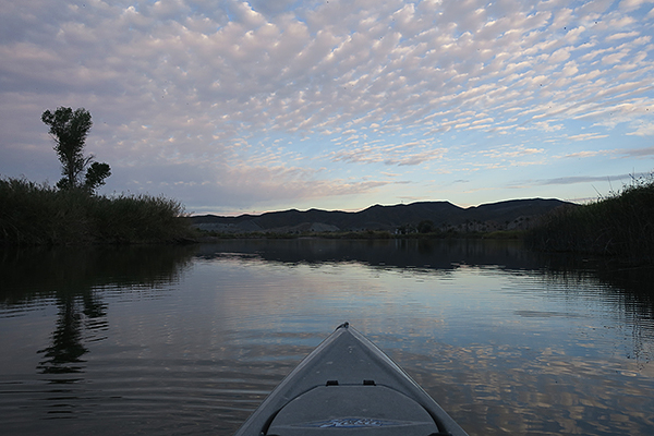 Cloudy sunrise on the Colorado River. A break from the hot desert sun.