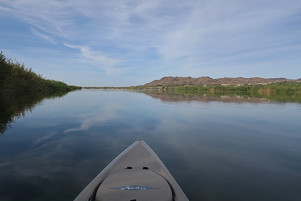 Kayak fishing on the Colorado River in the southwest USA.