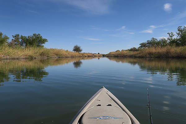 Kayak fishing for largemouth bass on the Colorado River in SW Arizona