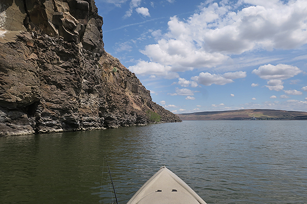 Kayak fishing on the Columbia River in eastern Washington