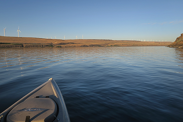 Kayak fishing for smallmouth bass on the Columbia River in eastern Washington