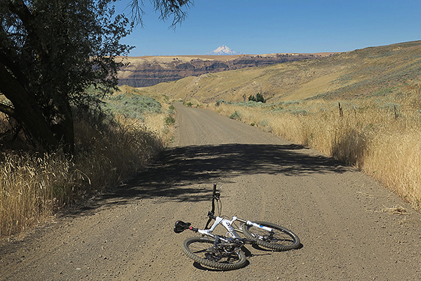 Cycling in eastern Washington with Mt. Hood in the distance