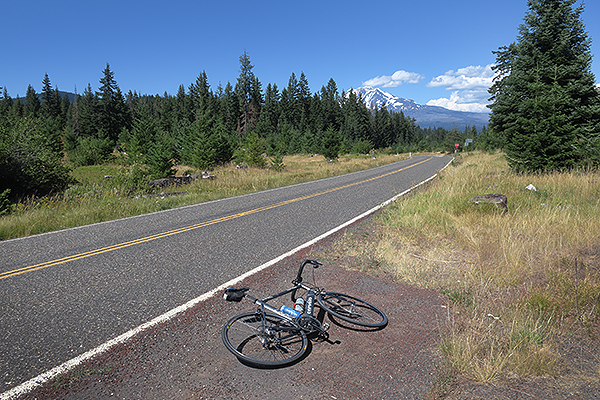 Riding to Mt Adams in the distance