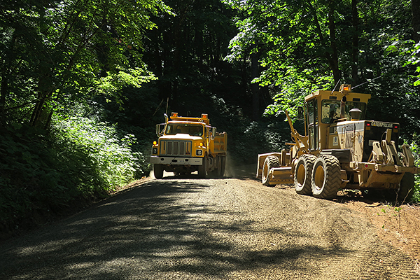 Road work on the Forest Service roads