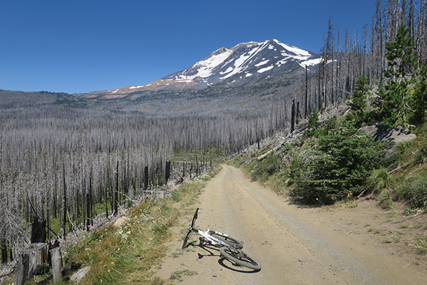 Long downhill ride from the base of Mt. Adams
