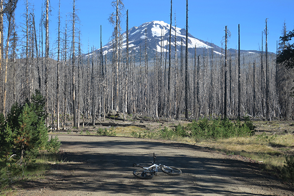 Riding mountain bikes near Mt Adams in Washington