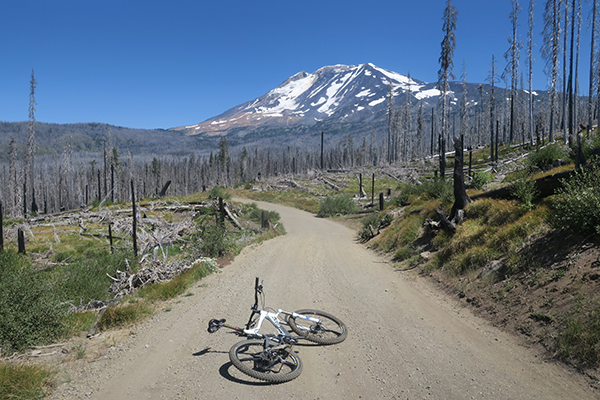 Mountain bike riding to the base of Mt. Adams