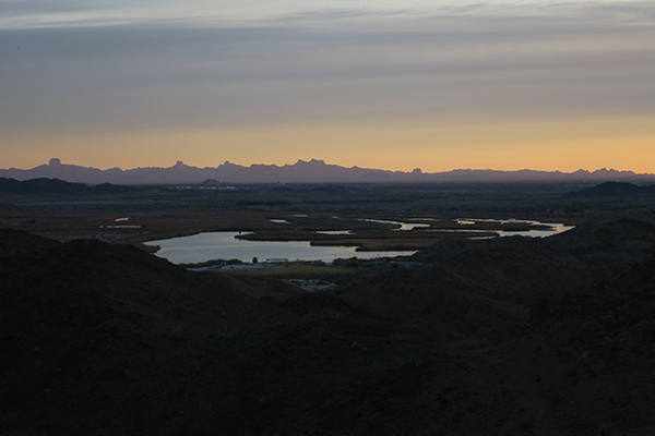 Cloudy sunrise over the lower Colorado River in southwest Arizona