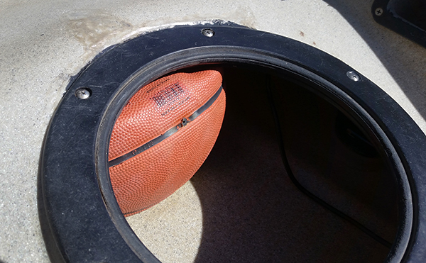 Using air pressure in a basketball to support the Hobie Quest fishing kayak deck to prevent cracking around the hatch