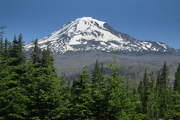 The rapidly melting snow pack on Mt Adams in central Washington