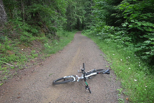 An extremely steep lava gravel road in the Cascade Mountains of central Washington