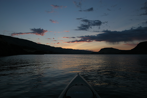 Kayak fishing at dawn on the Columbia River in eastern Washington