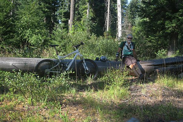 Trail break while mountain biking in the Cascade Mountains