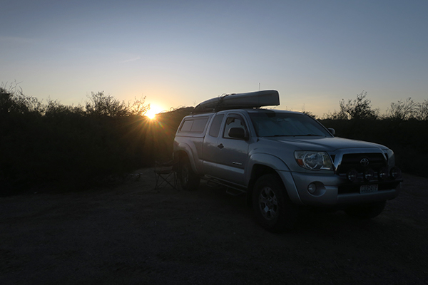 Sunrise over kayak fishing camp in south Arizona