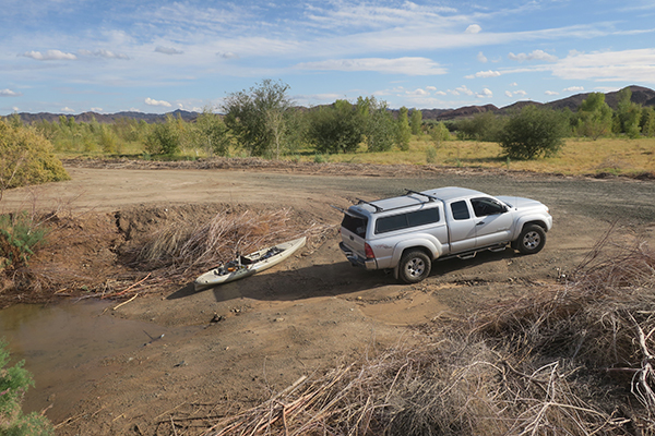 Kayak launch on a high water Colorado River