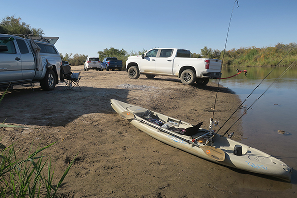 Kayak fishing launch on the Colorado River