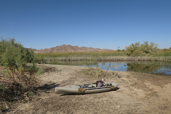 Launching fishing kayaks on the lower Colorado River