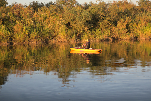 Kayak fisherman Randy looking for one more Colorado River largemouth bass at sunset