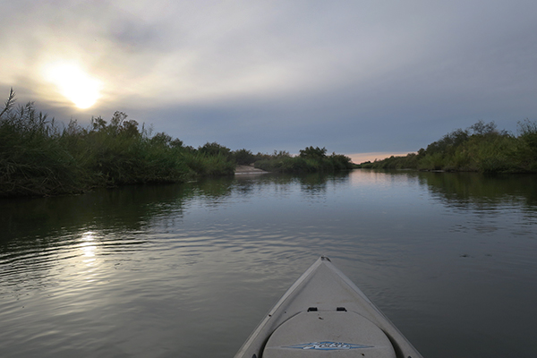 A cool, cloudy afternoon kayak fishing on the Colorado River