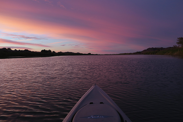 Sunrise on a cloudy day on the lower Colorado River