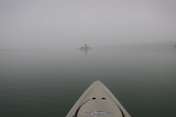 Foggy morning for kayak fishing on Squaw Lake in southwest Arizona